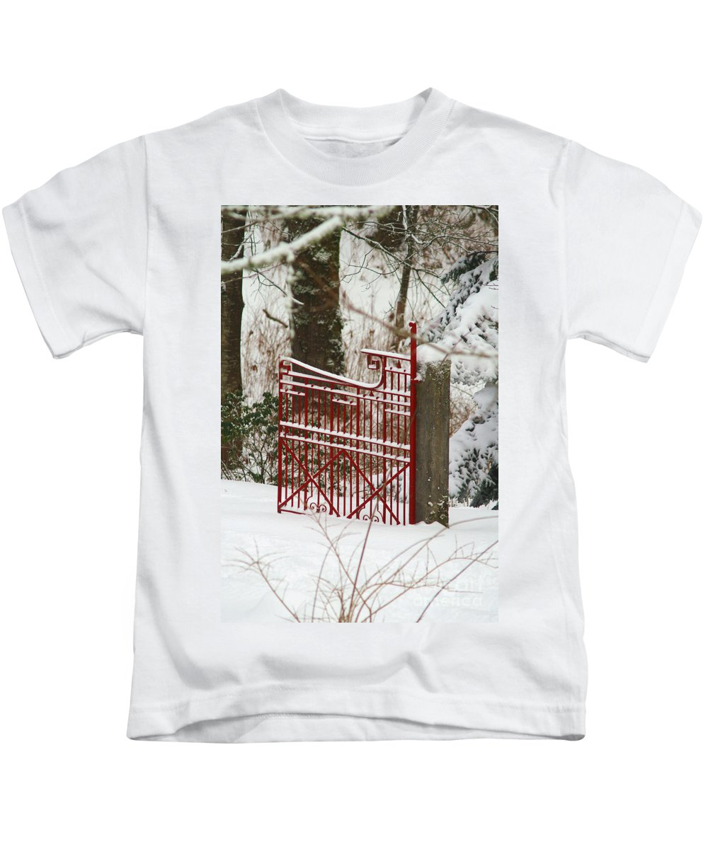 Fences Kids T-Shirt featuring the photograph Single Red Gate by Randy Harris
