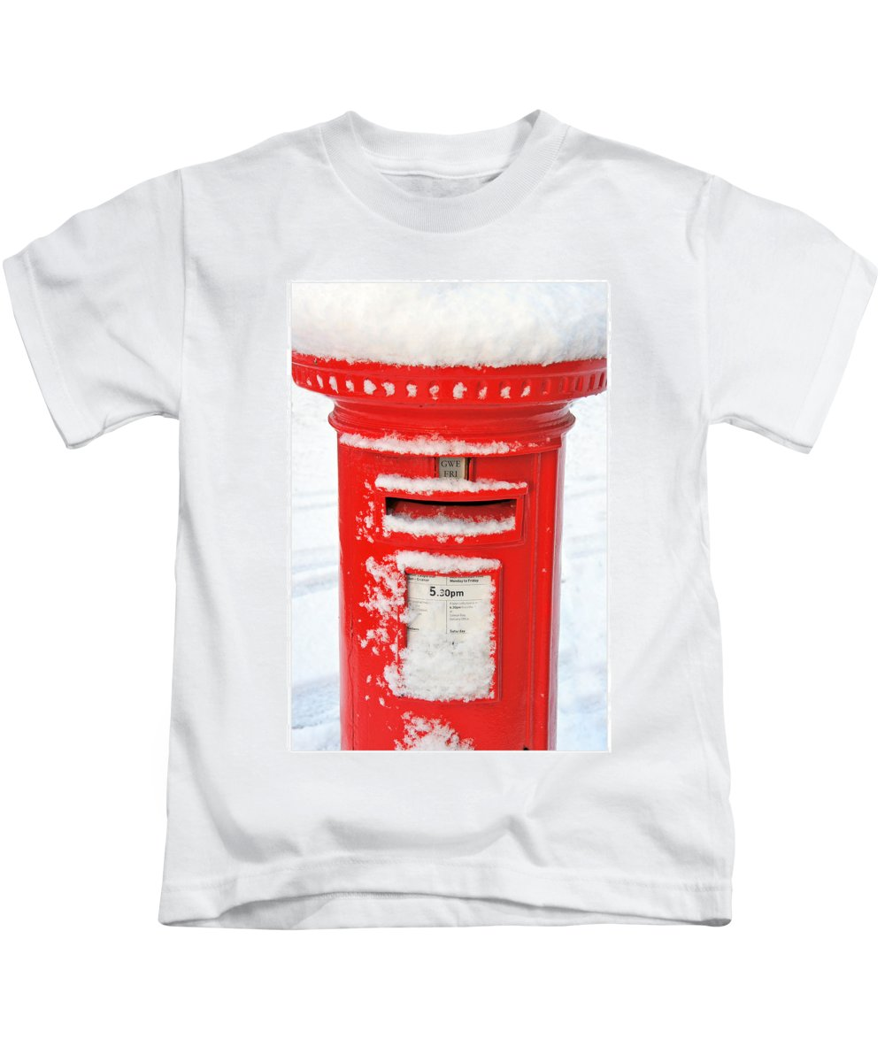 Postbox Kids T-Shirt featuring the photograph Snowy Pillar Box by Mal Bray