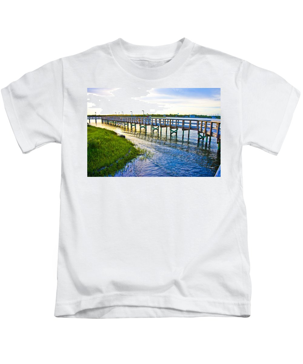 Topsail Kids T-Shirt featuring the photograph Soundside Park Surf City by Betsy Knapp