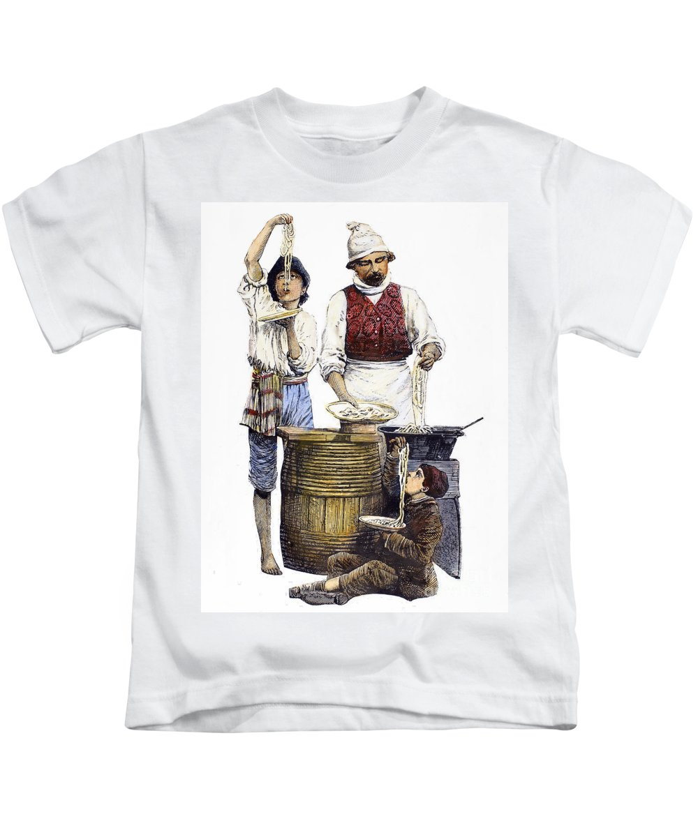 19th Century Kids T-Shirt featuring the photograph Spaghetti Vendor by Granger