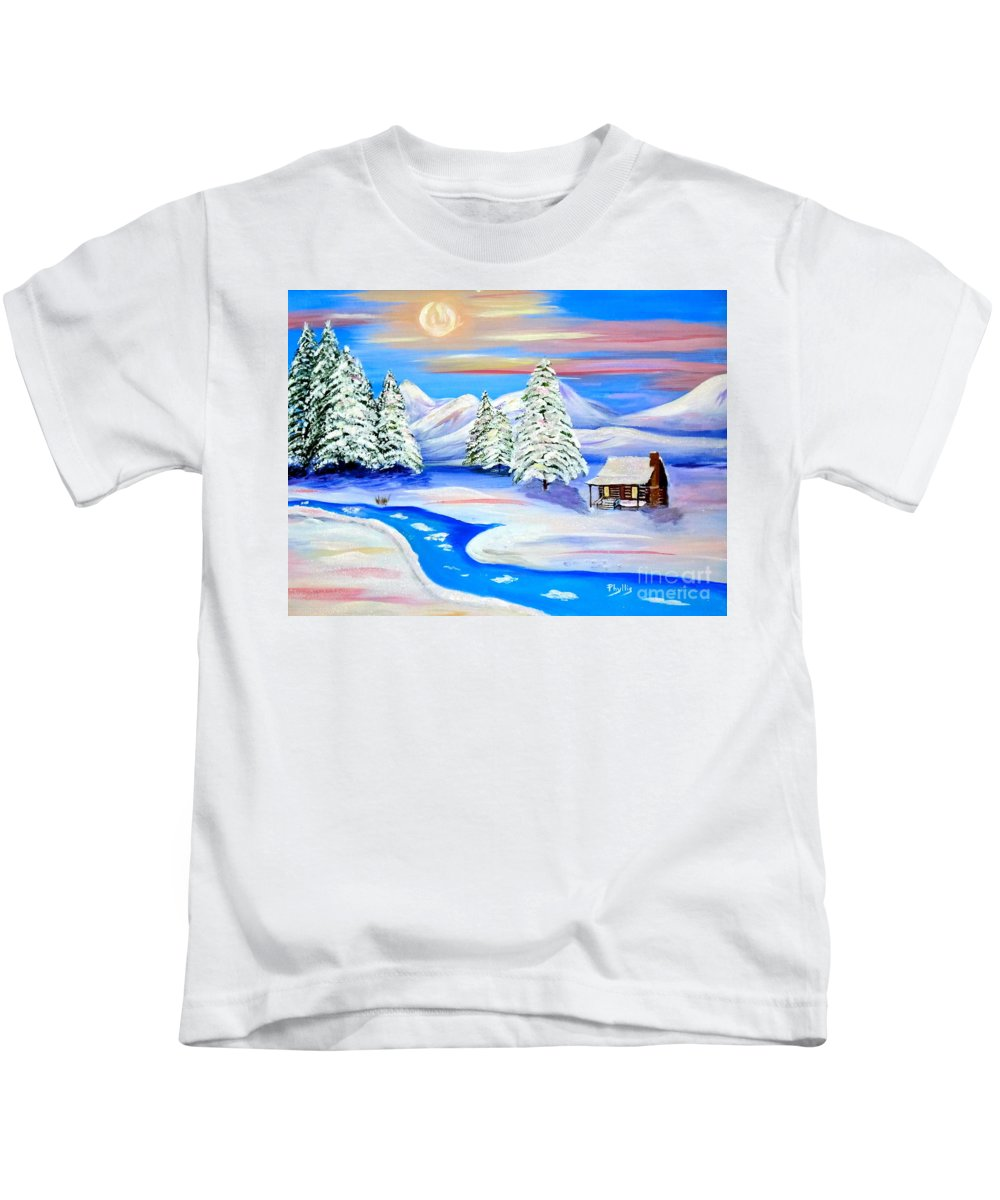 Sun Setting Cabin In The Snow Kids T-Shirt featuring the painting Sparkling Winter by Phyllis Kaltenbach