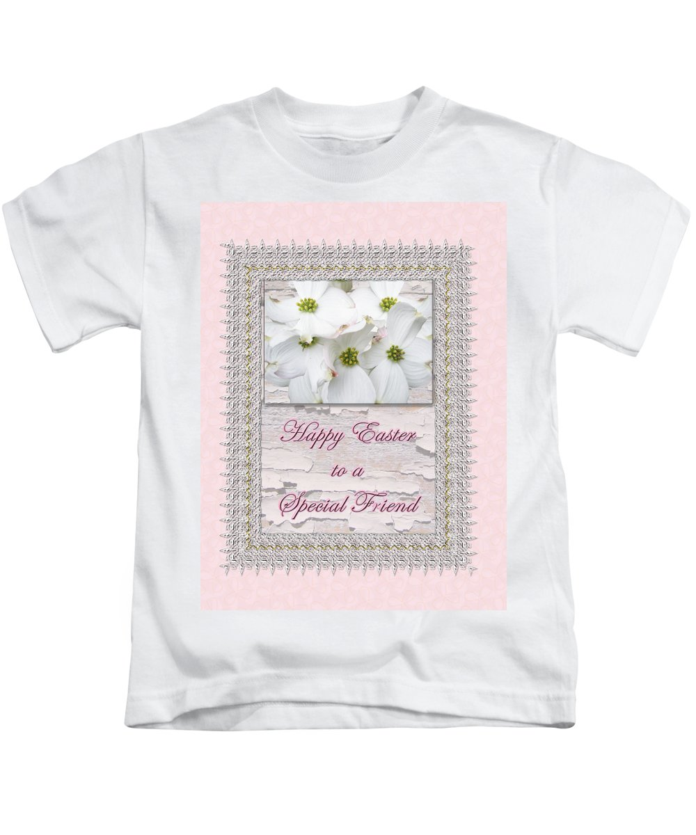 Easter Kids T-Shirt featuring the photograph Special Friend Easter Card - Flowering Dogwood by Mother Nature