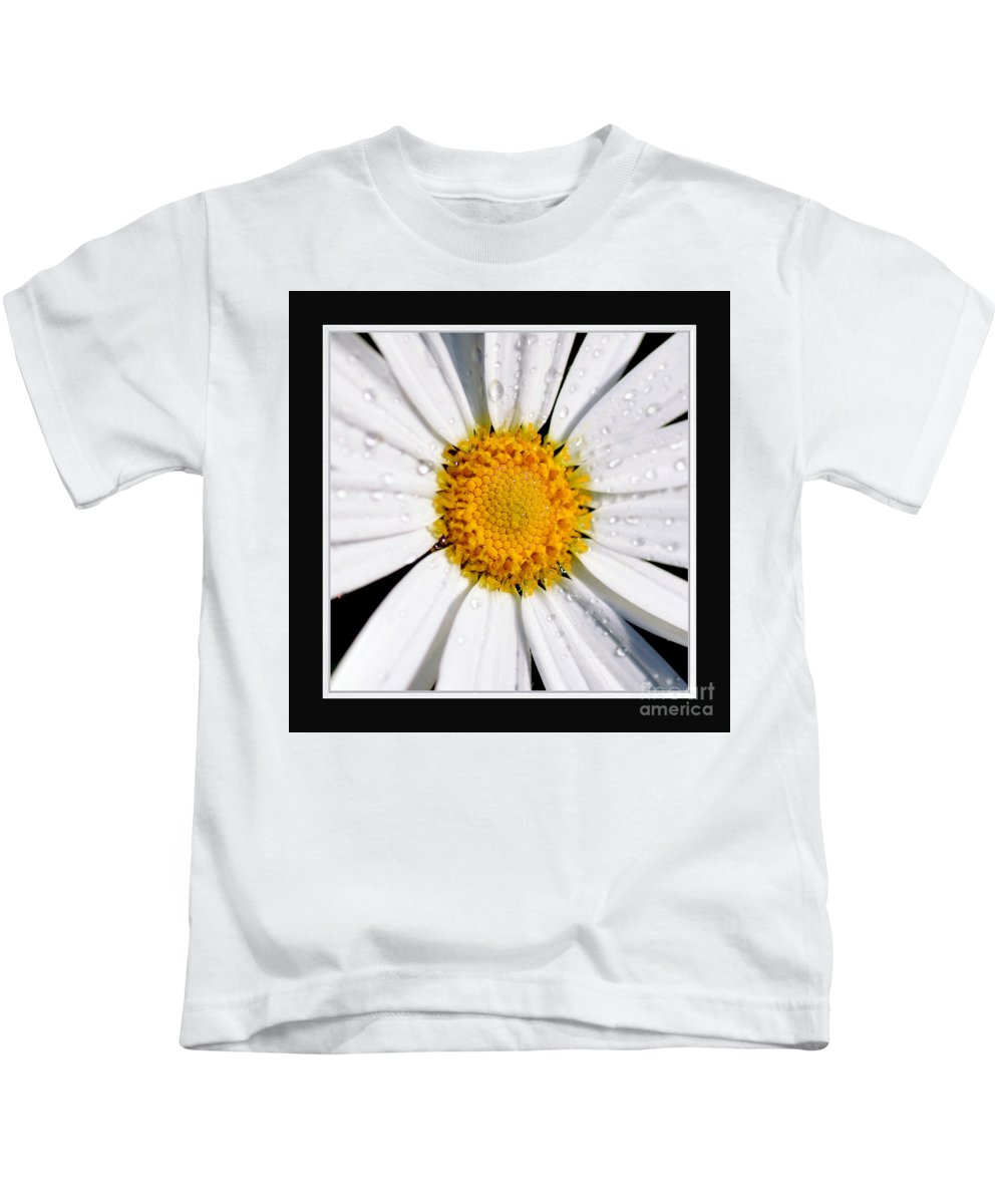 Photography Kids T-Shirt featuring the photograph Square Daisy - Close Up 2 by Kaye Menner