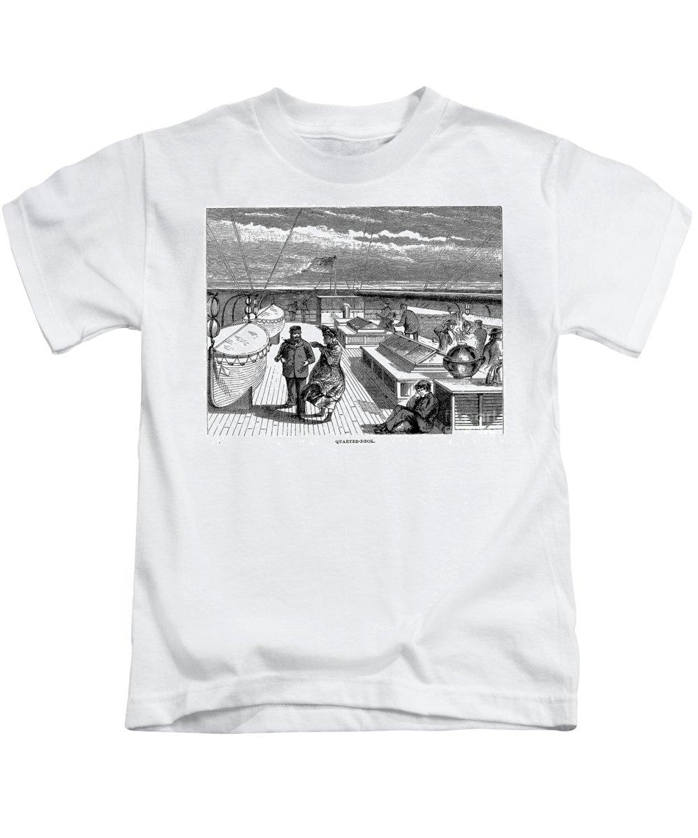 1870 Kids T-Shirt featuring the photograph Steamships: Deck, 1870 by Granger