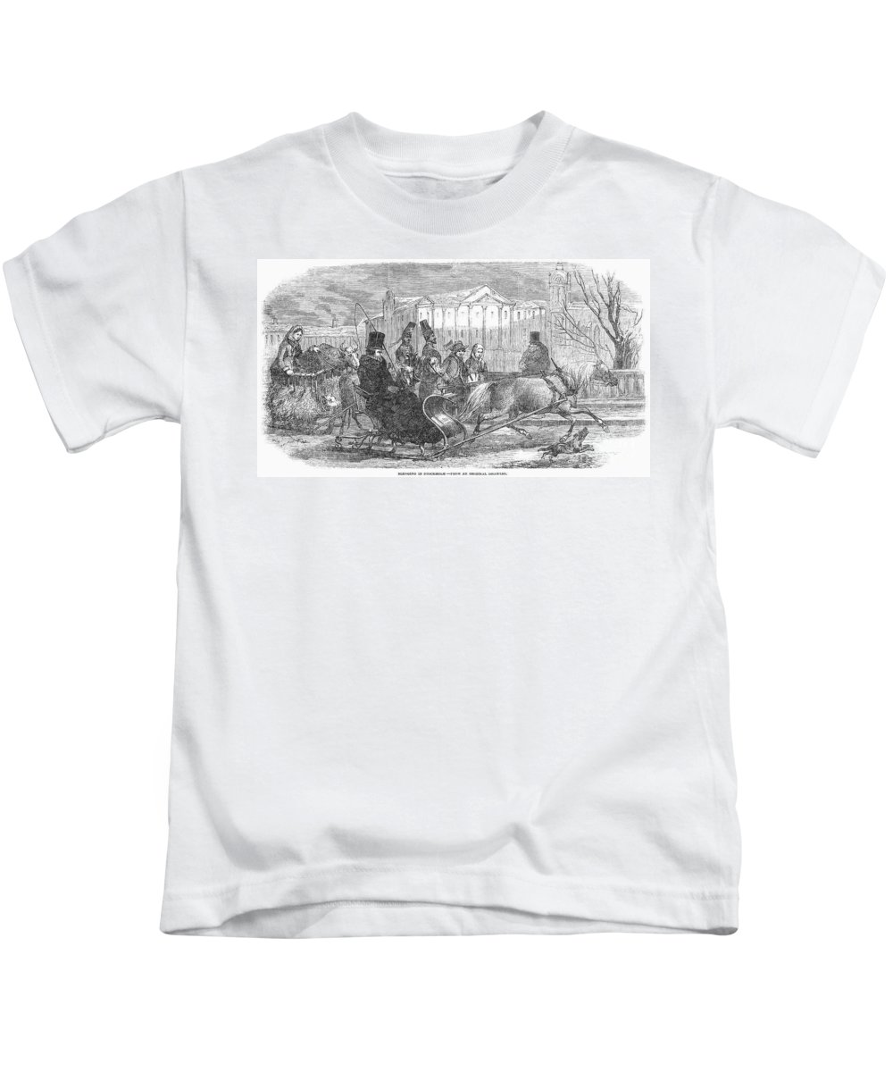 1850 Kids T-Shirt featuring the photograph Stockholm: Sleighing, 1850 by Granger