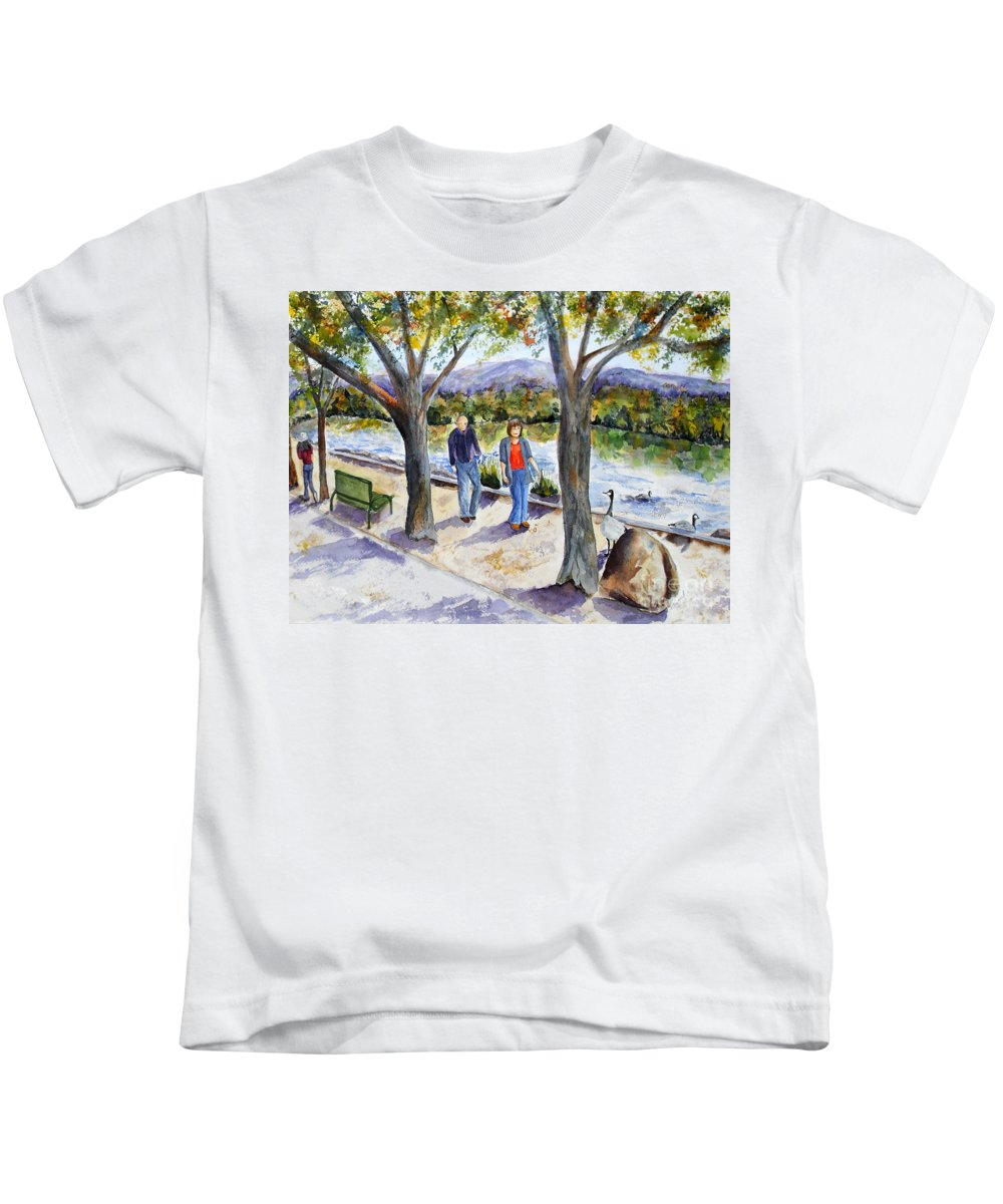Strolling Kids T-Shirt featuring the painting Strolling Virginia Lake by Vicki Housel