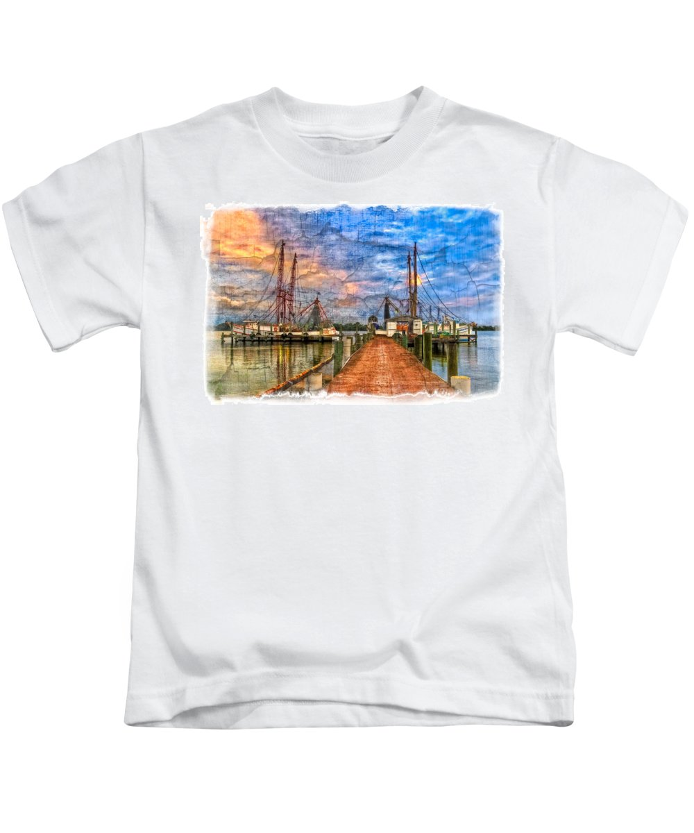 Boats Kids T-Shirt featuring the photograph Sunset Shrimping II by Debra and Dave Vanderlaan