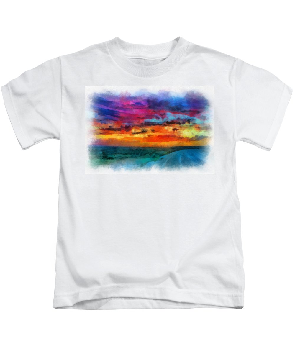 Santa Kids T-Shirt featuring the digital art Taos Sunset Iv Watercolor by Charles Muhle