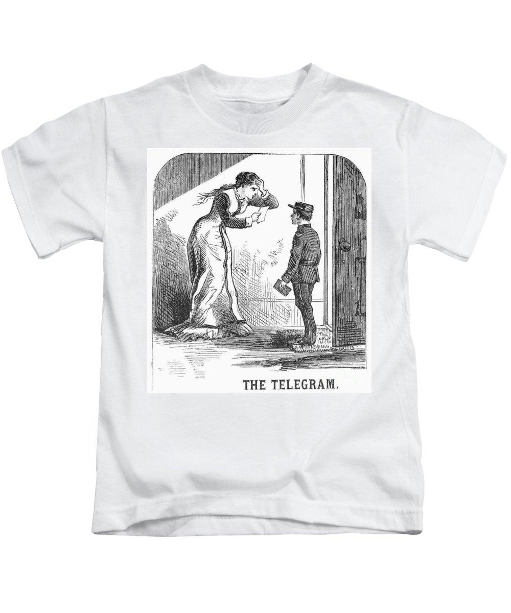 1879 Kids T-Shirt featuring the photograph Telegram: Death, 1879 by Granger
