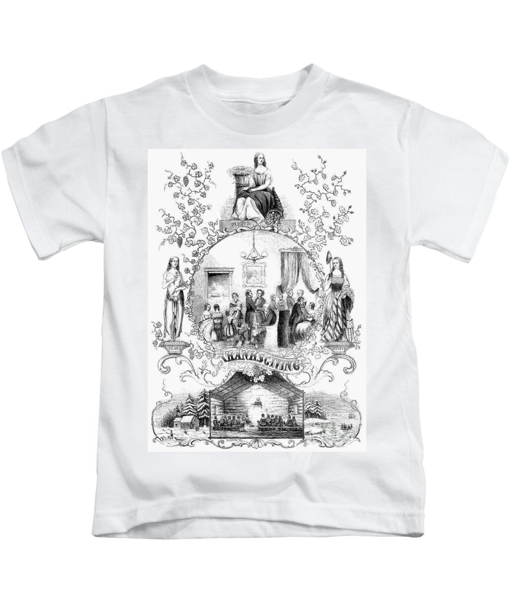 1852 Kids T-Shirt featuring the photograph Thanksgiving, 1852 by Granger