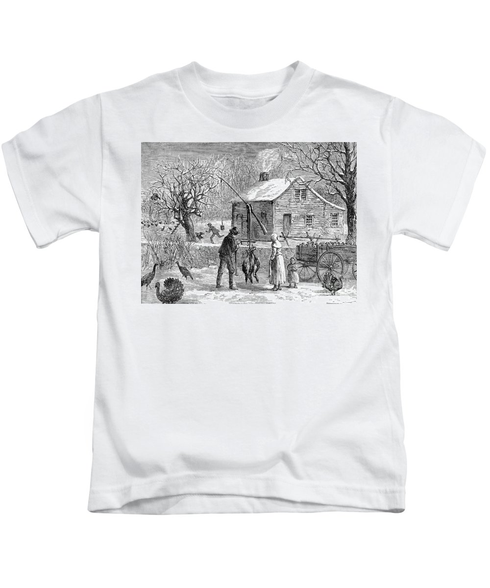 1882 Kids T-Shirt featuring the photograph Thanksgiving, 1882 by Granger