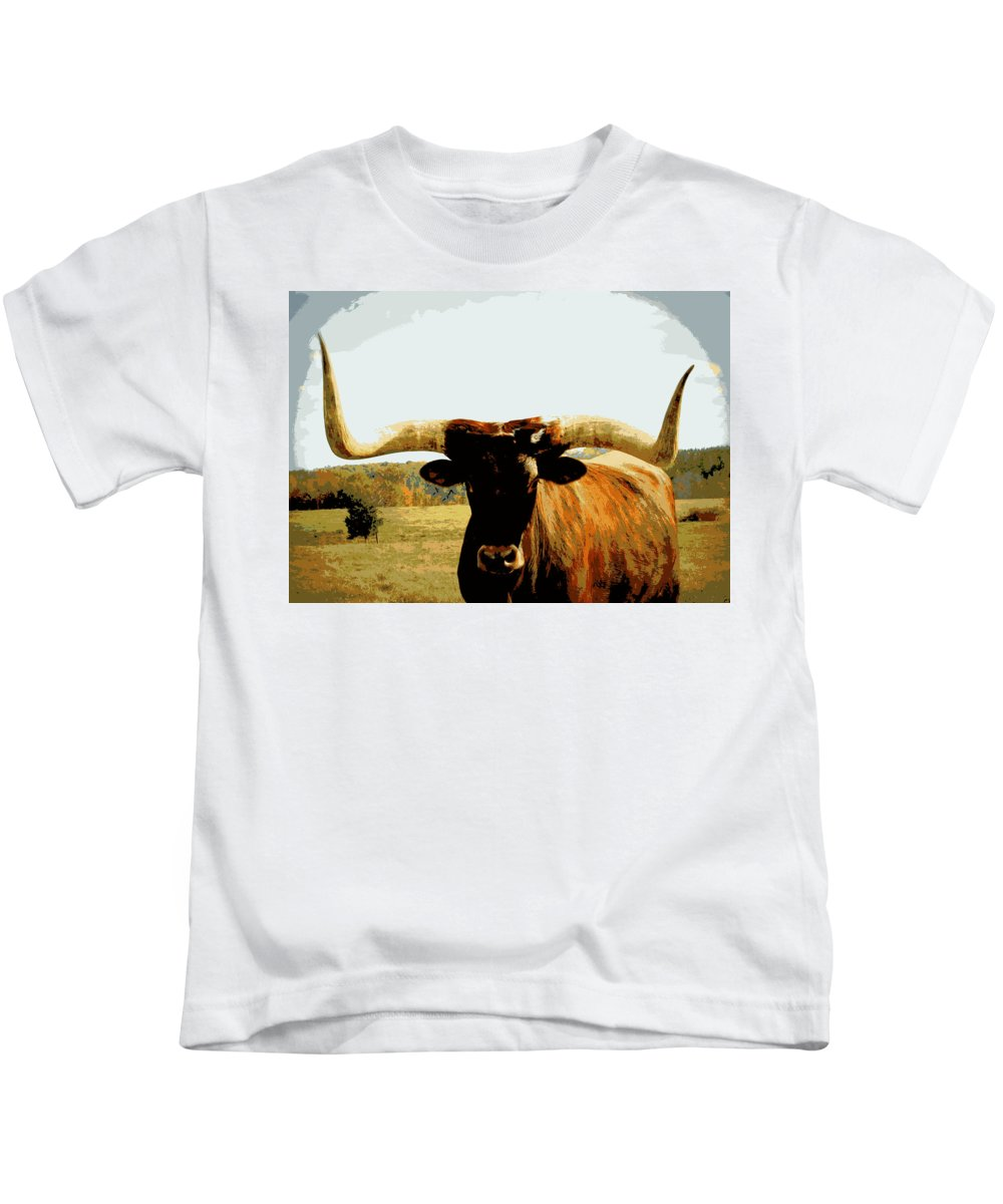 Longhorn Kids T-Shirt featuring the digital art The Big Guy by Tina Meador