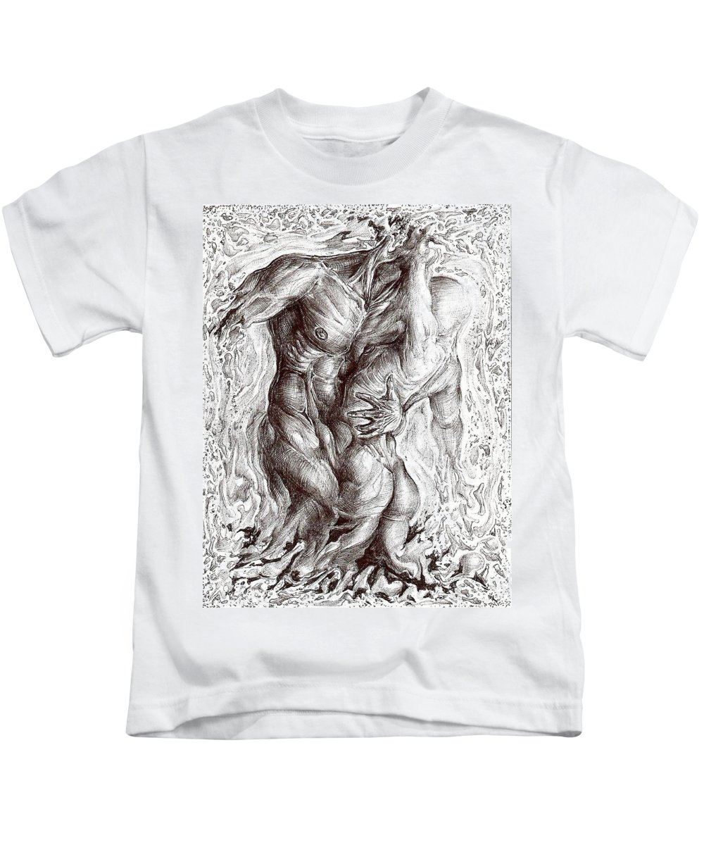 Surrealism Kids T-Shirt featuring the drawing The Eternal Vibration by Darwin Leon