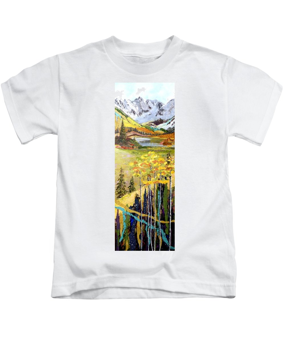 Colorado Landscapes Kids T-Shirt featuring the painting The Gore Range by Saundra Lane Galloway