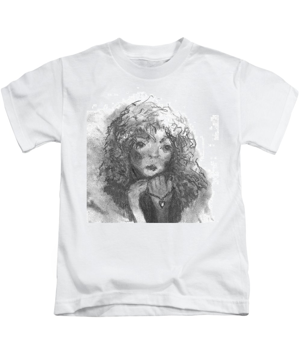 Folk Art Kids T-Shirt featuring the drawing The Locket by Laurie Lundquist