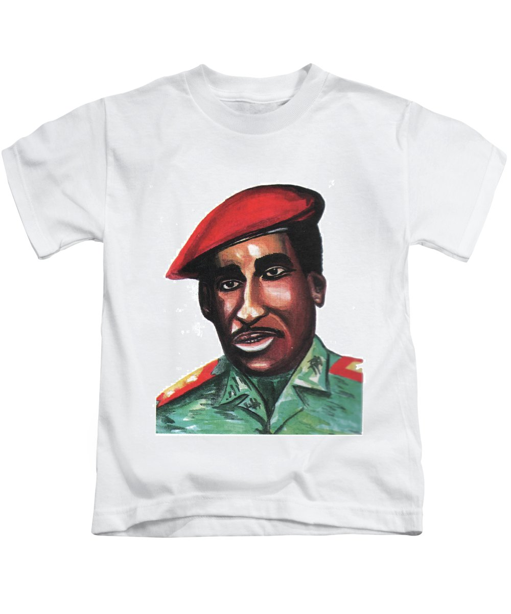 Portraits Kids T-Shirt featuring the painting Thomas Sankara by Emmanuel Baliyanga