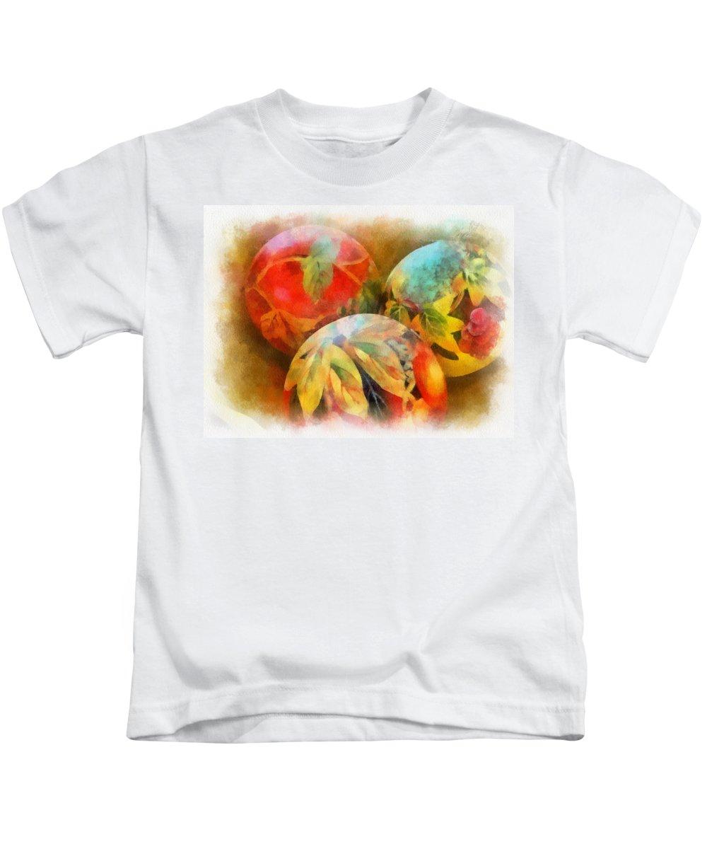 Santa Kids T-Shirt featuring the digital art Three Balls - Watercolor by Charles Muhle