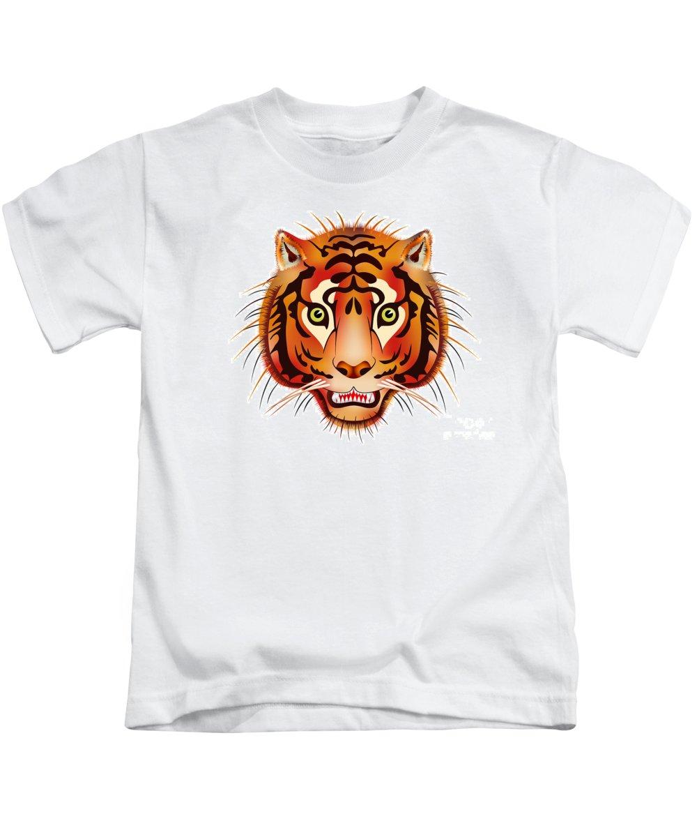 Head Kids T-Shirt featuring the digital art Tiger by Michal Boubin