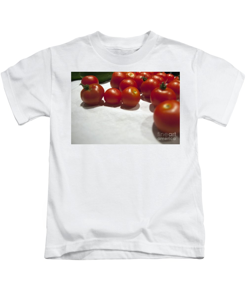 Background Kids T-Shirt featuring the photograph Tomato And Cucumber 1 by Alan Look