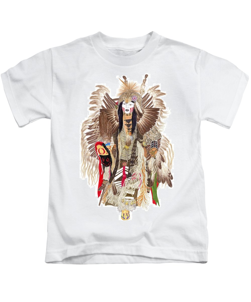Pow-wow Kids T-Shirt featuring the drawing Traditional Pow-wow Dancer 1 by Tim McCarthy