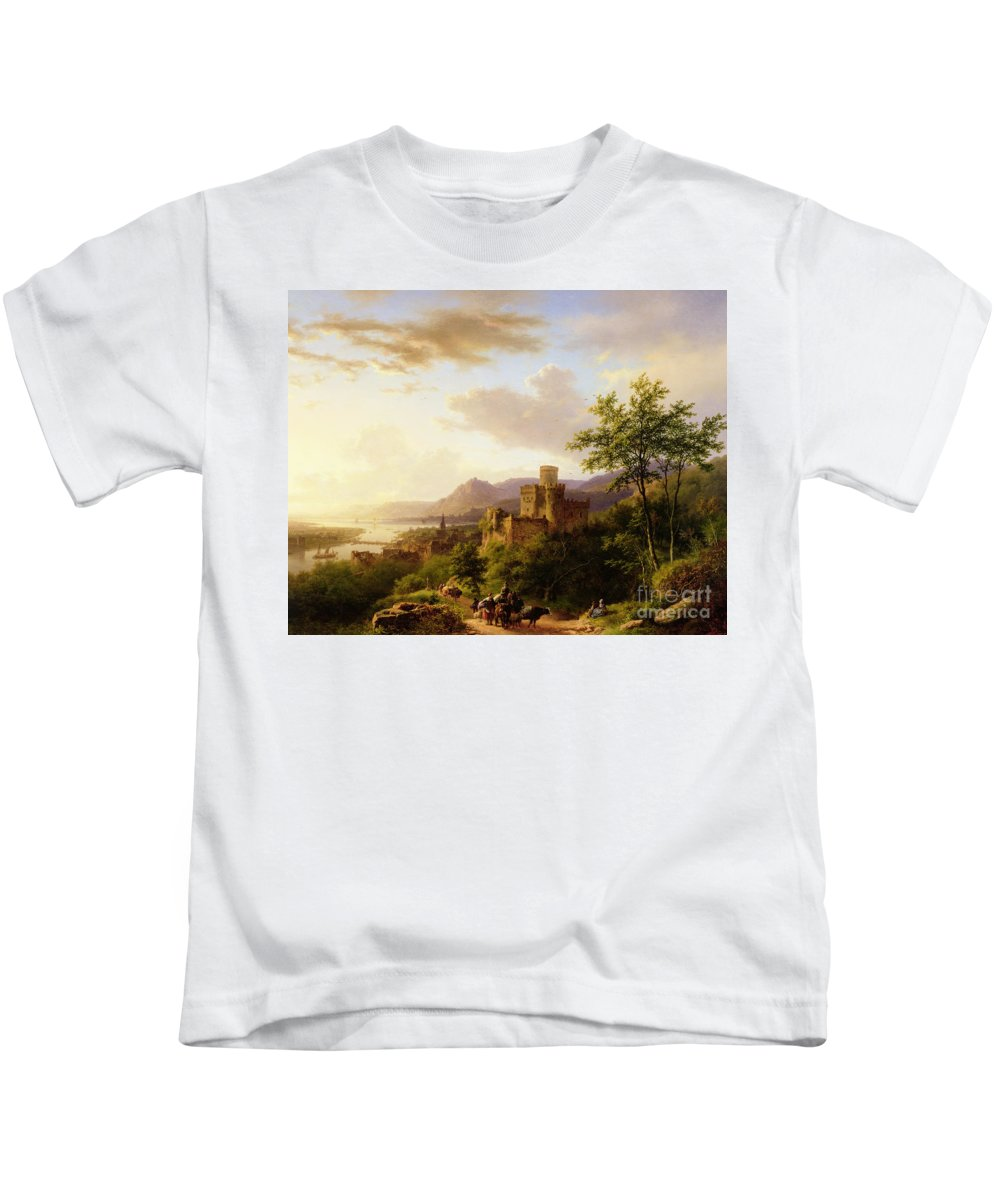 Travellers On A Path In An Extensive Rhineland Landscape Kids T-Shirt featuring the painting Travellers On A Path In An Extensive Rhineland Landscape by Barend Cornelis Koekkoek