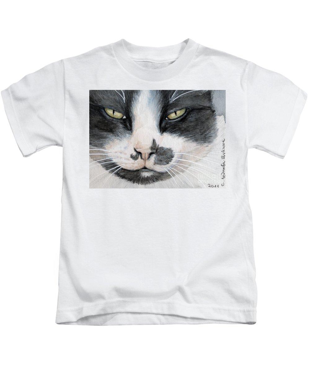 Cat Kids T-Shirt featuring the painting Tuxedo Cat by Svetlana Ledneva-Schukina