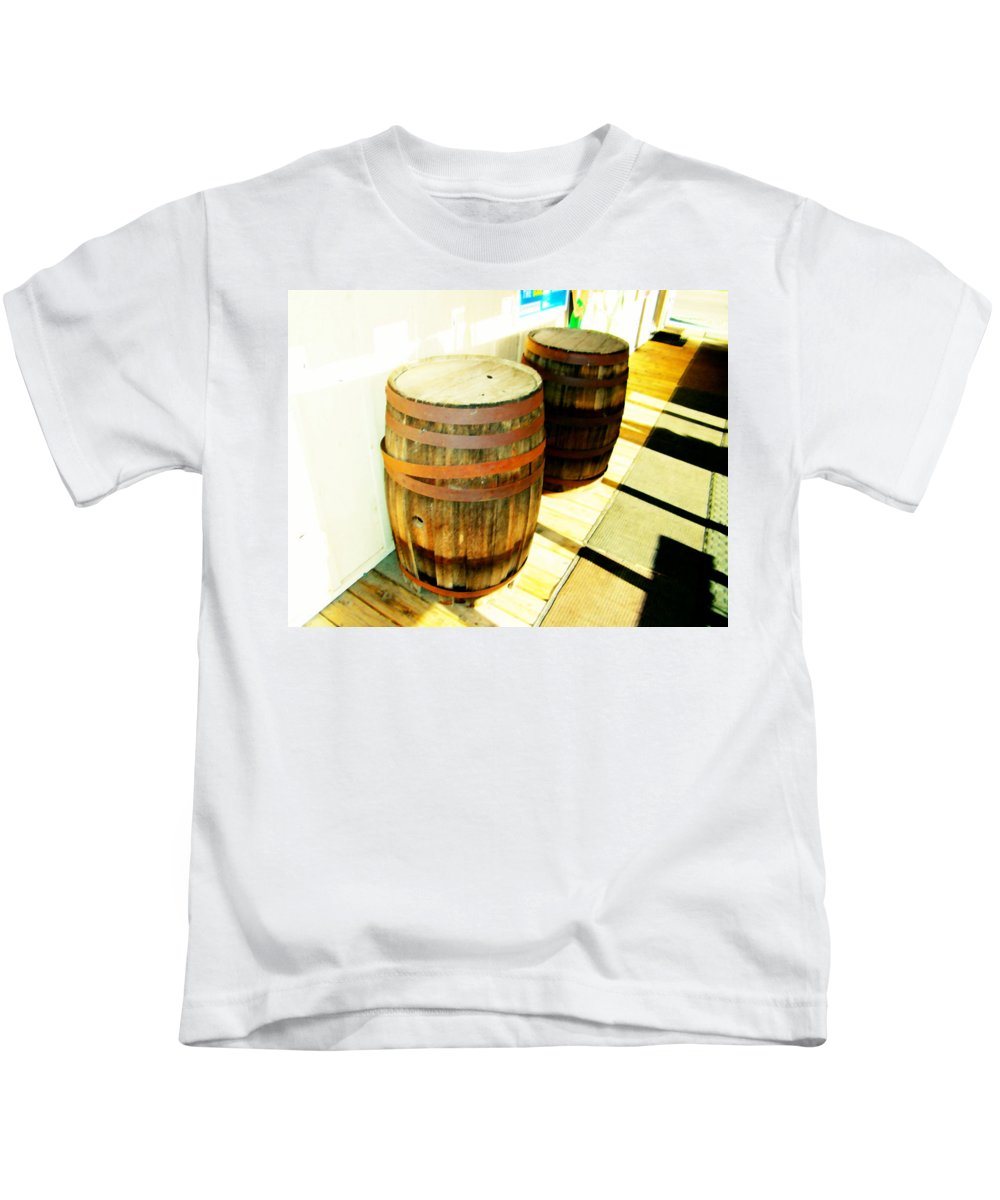 Abstract Kids T-Shirt featuring the photograph Two Barrels 2 by Lenore Senior