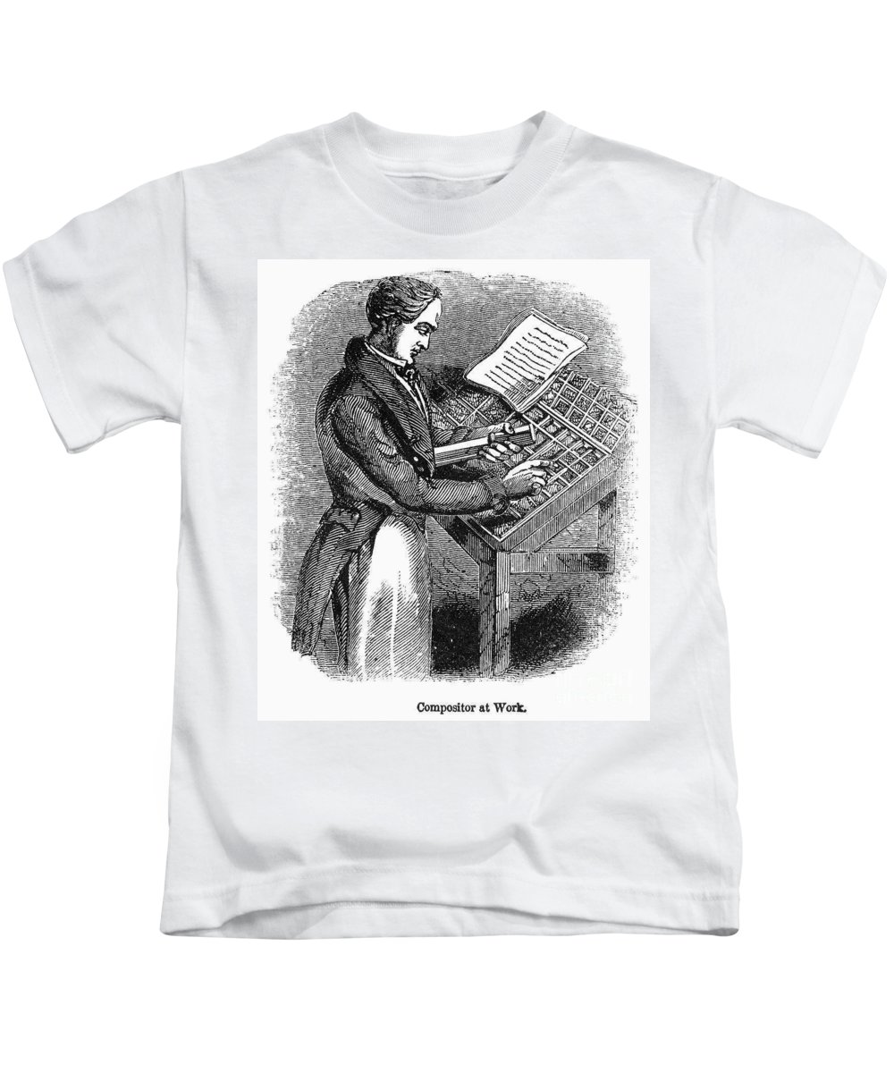 19th Century Kids T-Shirt featuring the photograph Typesetter, 19th Century by Granger