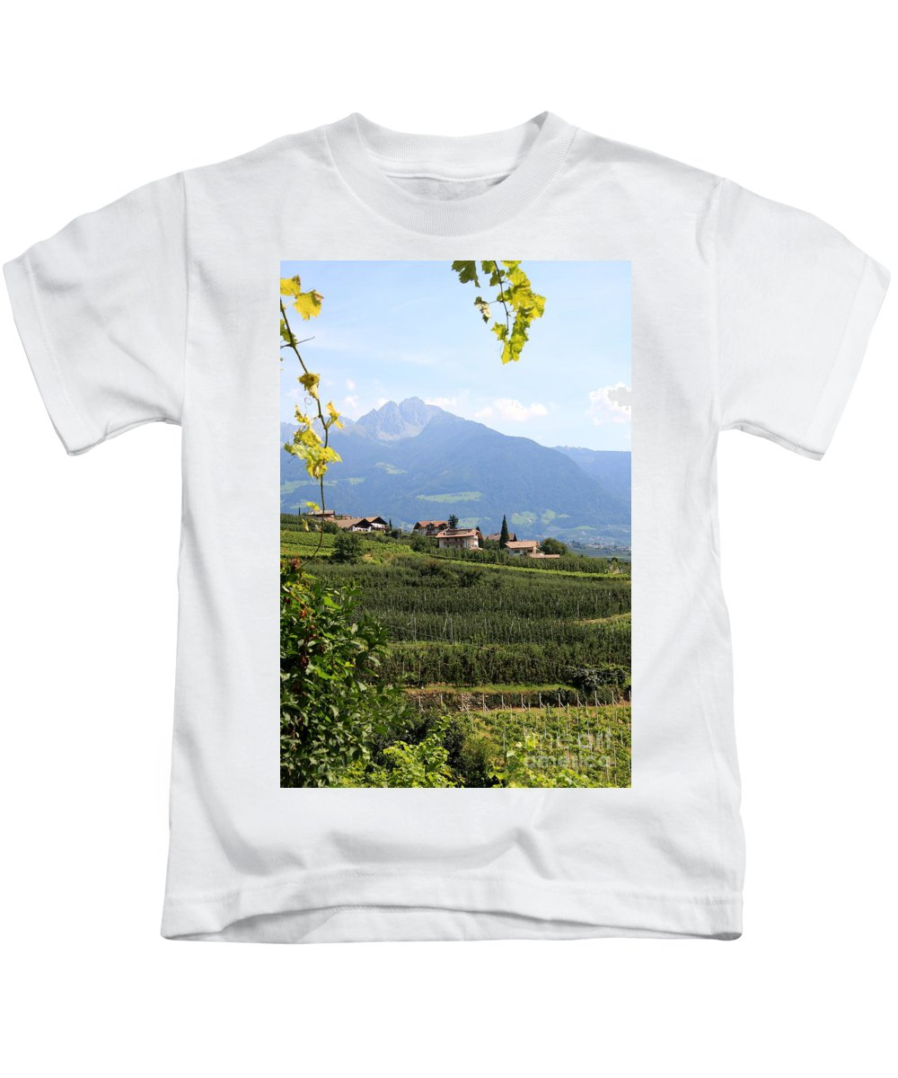Tyrolean Alps Kids T-Shirt featuring the photograph Tyrolean Alps And Vineyard by Christiane Schulze Art And Photography