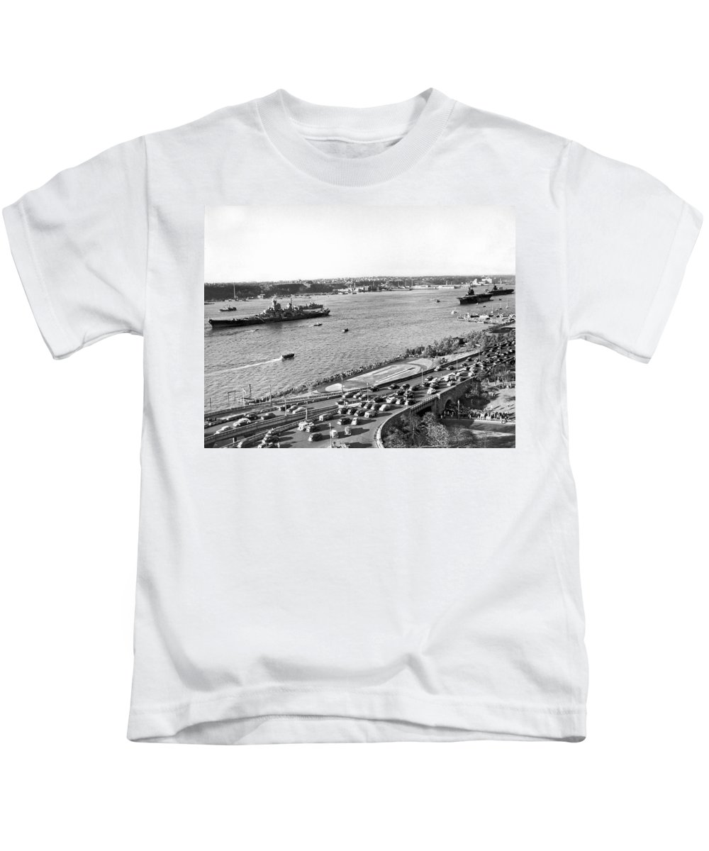1940's Kids T-Shirt featuring the photograph U.s. Navy In The Hudson River by Underwood Archives