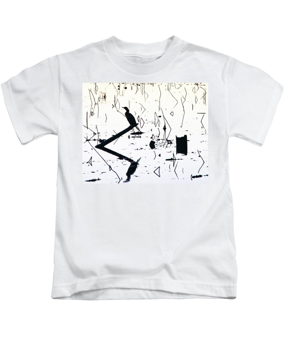 Black And White Image Kids T-Shirt featuring the digital art Vee by Lizi Beard-Ward