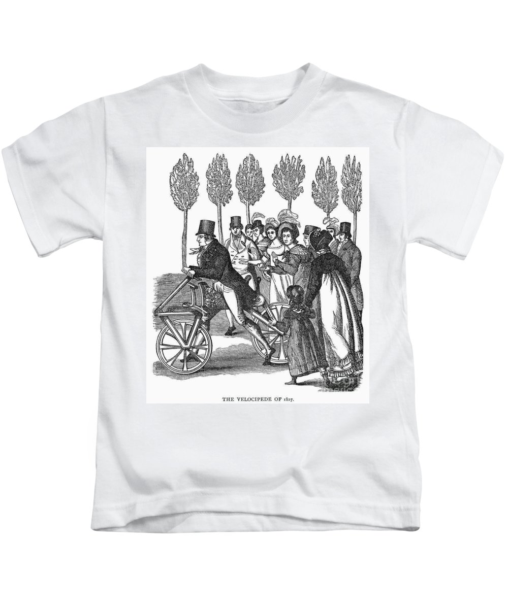1827 Kids T-Shirt featuring the photograph Velocipede, 1827 by Granger