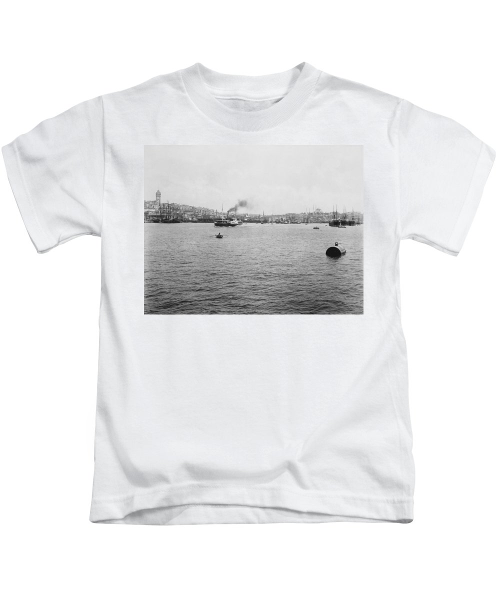 Galata Kids T-Shirt featuring the photograph View Of Galata And Istanbul - Between 1880-1893 by International Images
