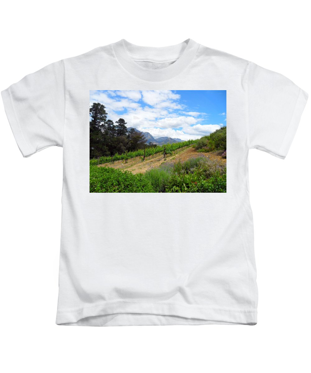 Agricultural Kids T-Shirt featuring the photograph Vineyard by Paul Fell