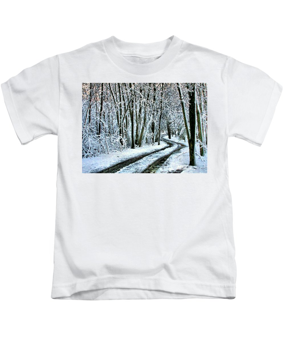 Snow Kids T-Shirt featuring the photograph Wending One's Way by Kristin Elmquist