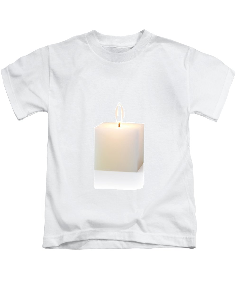 Candle Kids T-Shirt featuring the photograph White Cubic Candle by Atiketta Sangasaeng