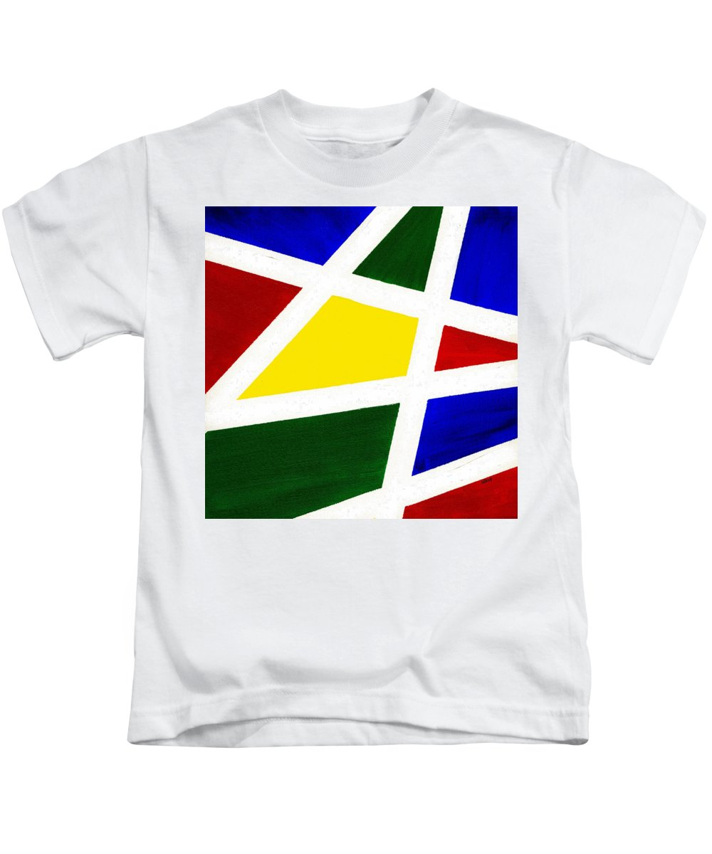 Abstract Kids T-Shirt featuring the painting White Stripes 4 by Hakon Soreide
