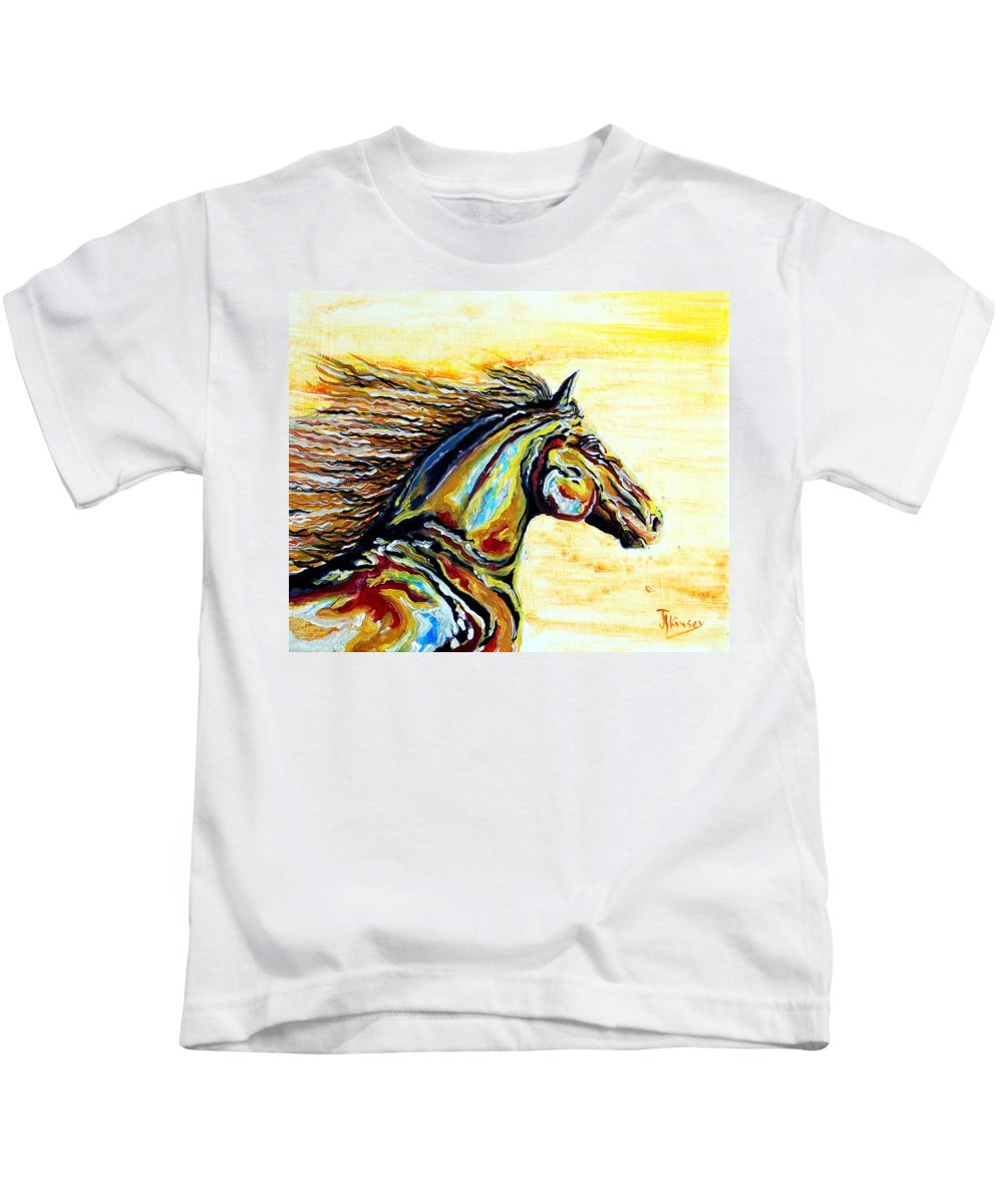 Horse Kids T-Shirt featuring the painting Wind And Fire by Jacqueline Kinsey