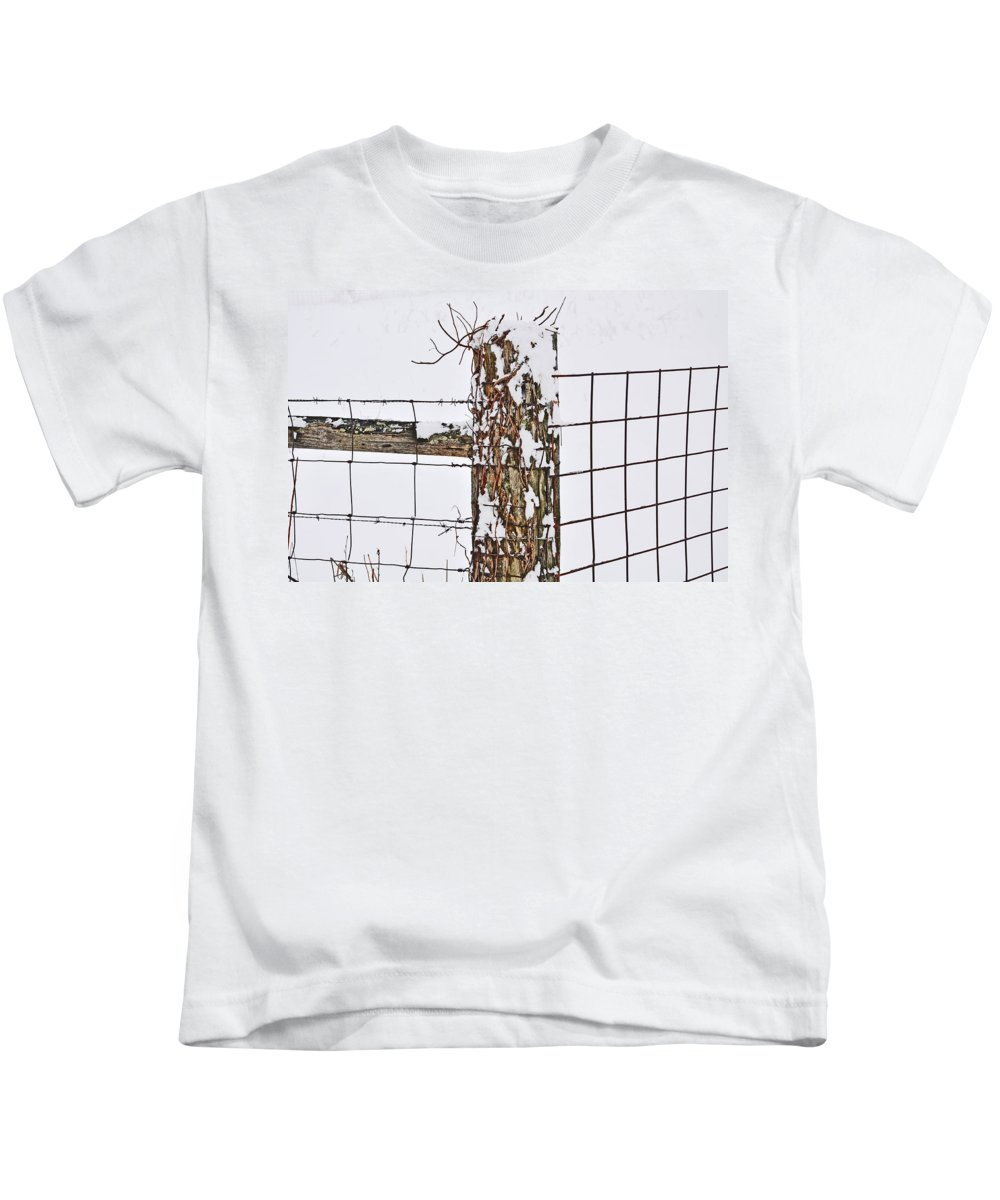 Barb Wire Kids T-Shirt featuring the photograph Winter Fence by Brittany Horton