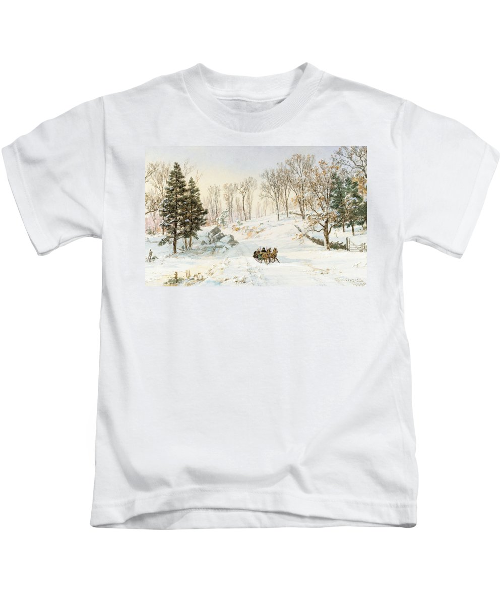 Winter Kids T-Shirt featuring the painting Winter On Ravensdale Road by Jasper Francis Cropsey