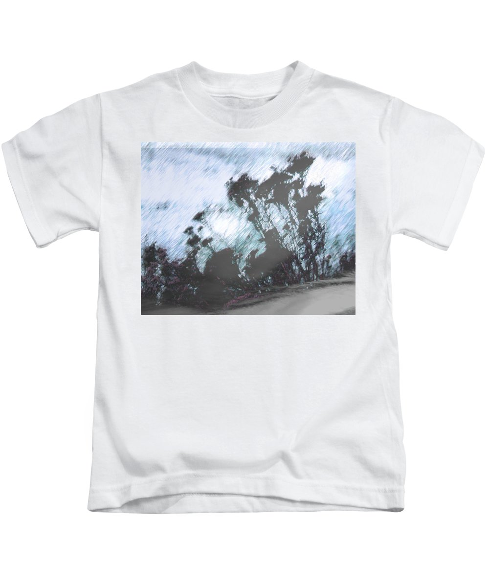 Abstract Kids T-Shirt featuring the photograph Winter Roadside by Lenore Senior