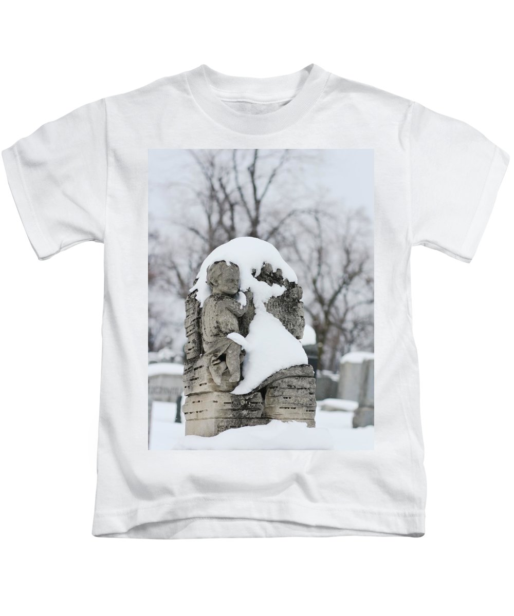 Snow Kids T-Shirt featuring the photograph Winter Tombstone by Gothicrow Images