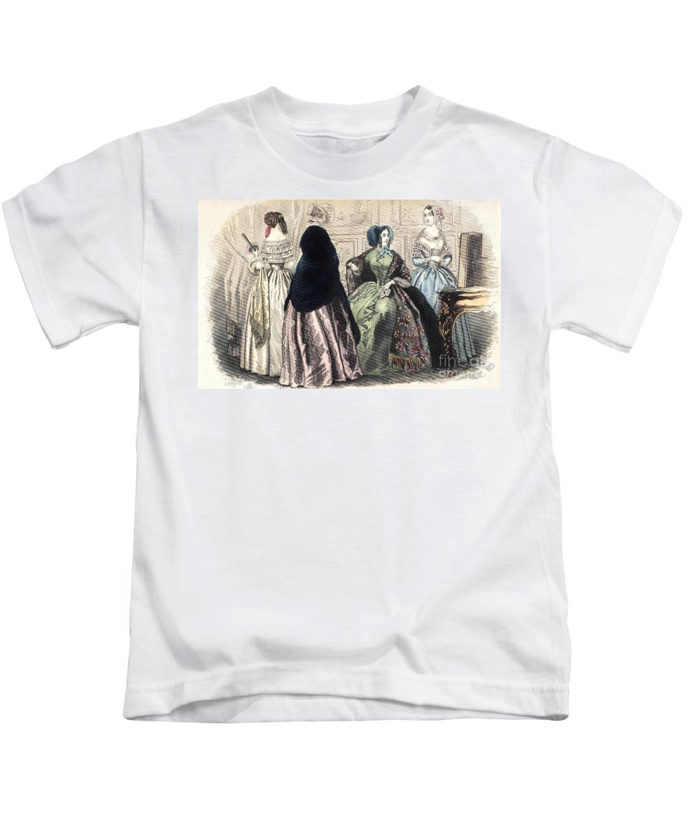 1850s Kids T-Shirt featuring the photograph Womens Fashion, C1850 by Granger