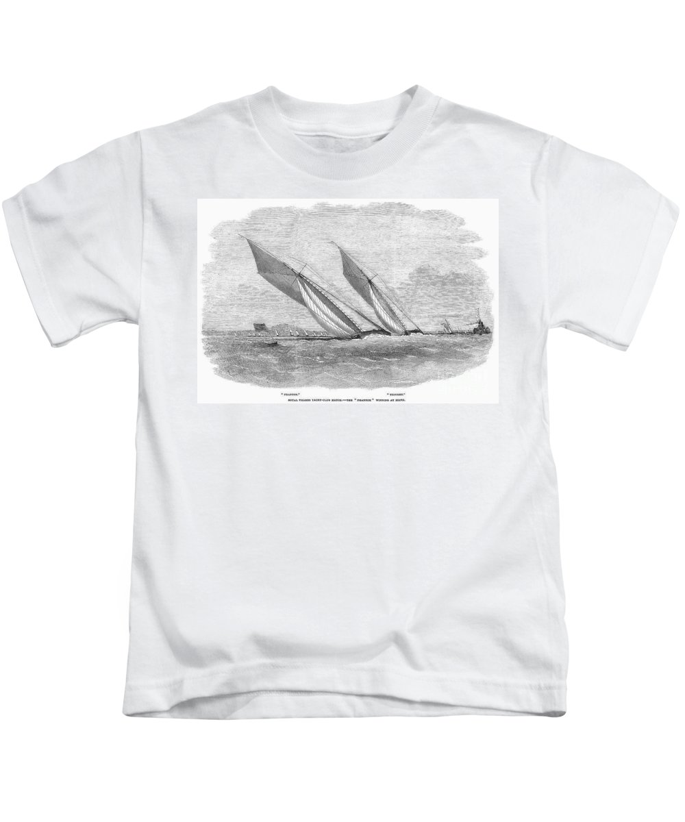1854 Kids T-Shirt featuring the photograph Yacht Race, 1854 by Granger