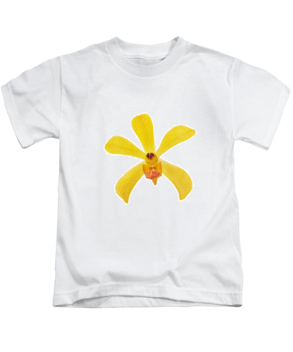 Spa-treatment Kids T-Shirt featuring the photograph Yellow Orchid by Atiketta Sangasaeng