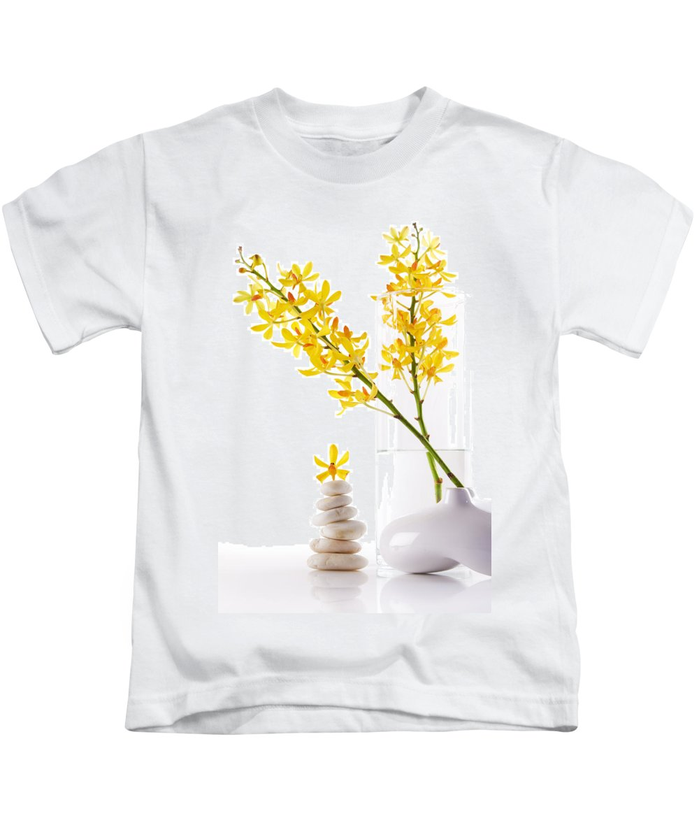Spa-treatment Kids T-Shirt featuring the photograph Yellow Orchid Bunchs by Atiketta Sangasaeng