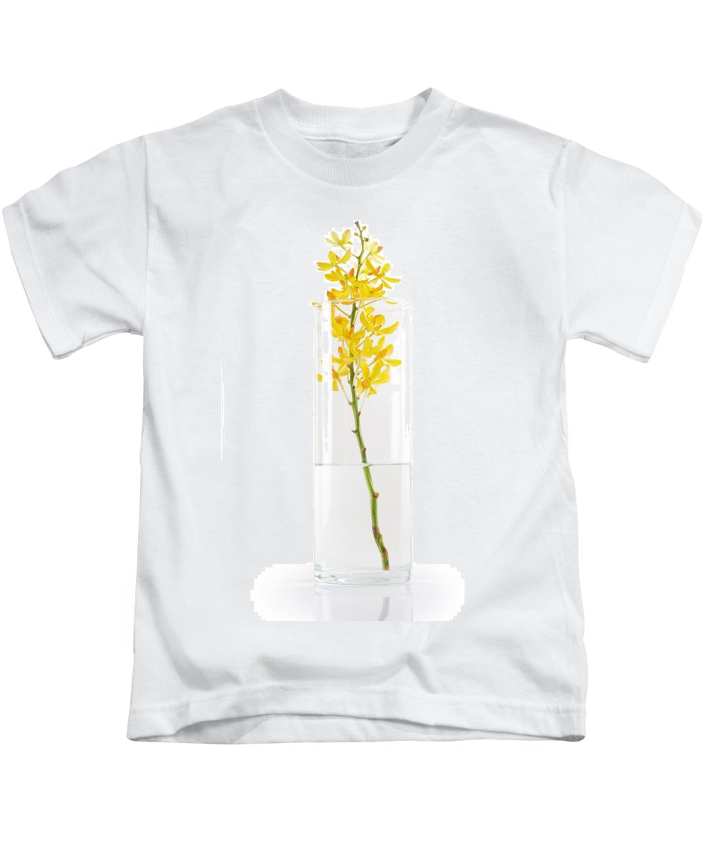 Asian Kids T-Shirt featuring the photograph Yellow Orchid In Vase by Atiketta Sangasaeng