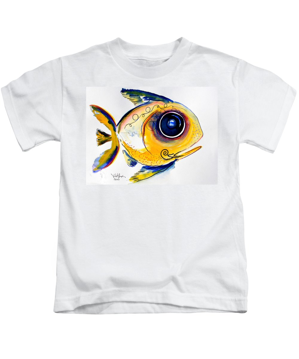 Fish Kids T-Shirt featuring the painting Yellow Study Fish by J Vincent Scarpace