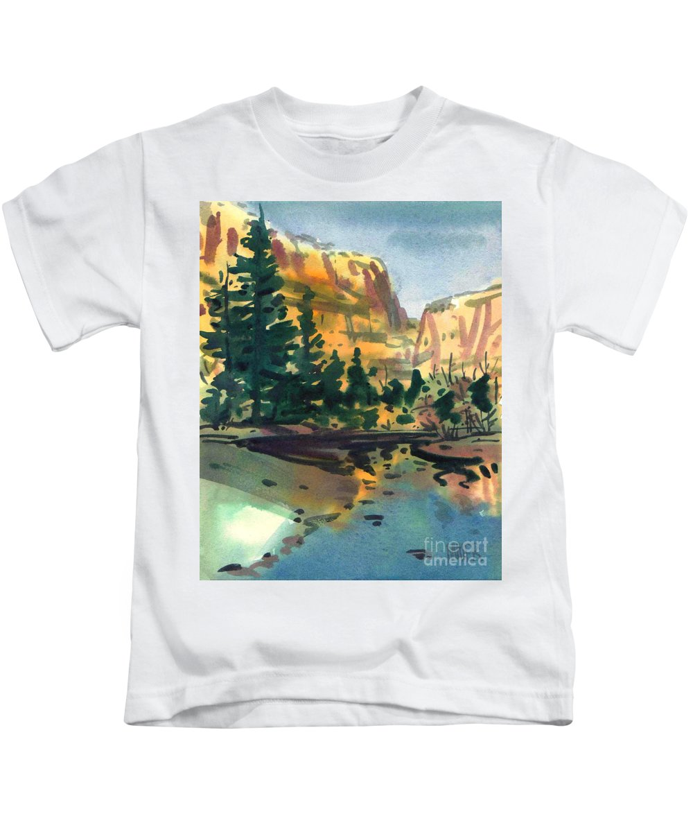 Watercolor Kids T-Shirt featuring the painting Yosemite Valley In January by Donald Maier