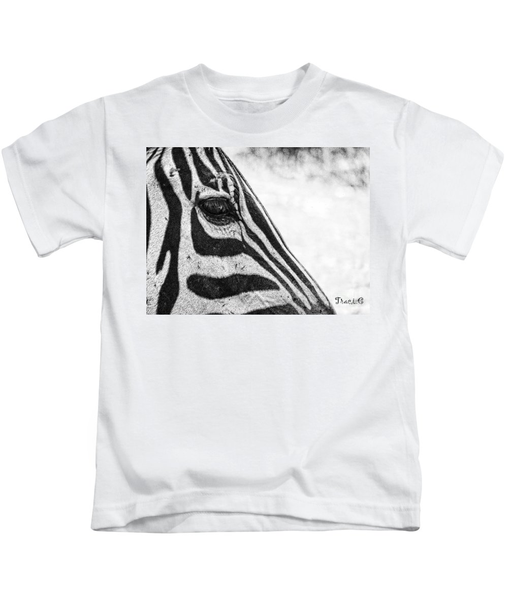 Zebra Kids T-Shirt featuring the photograph You've Got Zebra Eyes by Traci Cottingham